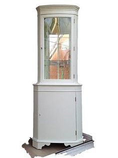 Cream / Antique White Corner Display Cabinet / Cupboard with Light and Mirrors Corner Display Cabinet, Tall Cabinet Storage, Battery Operated Lights, Cupboard, Hand Painted, Contemporary, Chair, Antiques, Trending Outfits