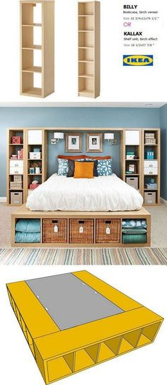Smart and Gorgeous IKEA Hacks: save time and money with functional designs and beautiful transformations. Great ideas for every room such as IKEA hack bed, desk, dressers, kitchen islands, and more! - A Piece of Rainbow decor ikea Ikea Hacks, Diy Hacks, Ikea Bed Hack, Ikea Bookshelf Hack, Ikea Hack Bedroom, Ikea Platform Bed Hack, Ikea Boys Bedroom, Ikea Beds, Bookshelf Bed