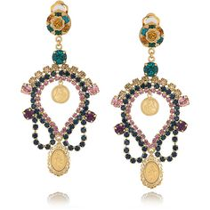 Dolce & Gabbana Crystal and cameo clip earrings ($345) ❤ liked on Polyvore featuring jewelry, earrings, accessories, jewelry - earrings, multi colored crystal earrings, tri color earrings, multicolor earrings, crystal clip on earrings and clip earrings
