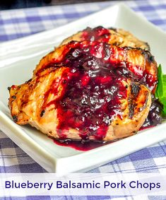 Blueberry Balsamic Pork Chops - a different kind of sweet & sour pork! Blueberry Balsamic Pork Chops - simple pan seared or grilled chops with an easy to prepare sweet and sour pan sauce that compliments the pork beautifully. Pork Rib Recipes, Rock Recipes, Pork Casserole Recipes, Grilled Recipes, Bbq Pork, Pork Ribs, Barbecue, Pork Loin, Balsamic Pork Chops