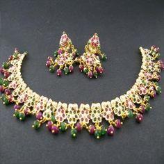 Buy Jadau Ruby & Emerald Gold Necklace | Jpearls.com