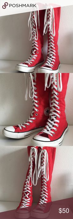 Knee High Red Lace Up / Zipper Converse - Chucks Like new condition! Only worn once. Selling for a cousin of mine. Size 7. Has a zipper on the back for easy take on/off.   •Offers always welcome!  •Free Shipping On Items or orders $30 and up! Converse Shoes