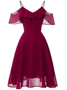 LaceShe Frauen Flowy Strapless Schulter Chiffon Kleid - XL / Burgund Source by rvappen short dresses Pretty Dresses, Sexy Dresses, Vintage Dresses, Beautiful Dresses, Fashion Dresses, Formal Dresses, Casual Dresses, 1950s Dresses, Office Dresses