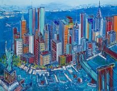 """Edward Dwurnik (b. """"New York"""", oil on canvas, 114 x 146 cm; signed and dated lower left: New York 2017, Sully, Poland, Oil On Canvas, Past, New York Skyline, Times Square, Nyc, Urban"""