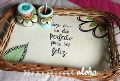 juego de mate bandeja azucarera y yerbera pintados a mano Easy Crafts, Arts And Crafts, Country Paintings, Wooden Art, Wood Crafts, 3 D, Projects To Try, Lettering, How To Make