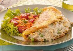 Receita de omelete com recheio de frango cremoso