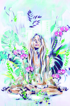 In the Fields | Meditation zen painting in a tropical setting | By Hannah Adamaszek online shop & gallery #EasyMeditation