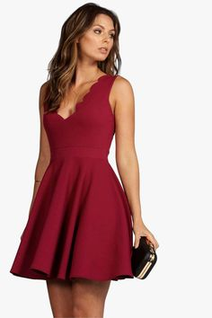 Vivy Scallop Plunge Skater Dress - Dresses - Street Style, Fashion Looks And Outfit Ideas For Spring And Summer 2017 Hoco Dresses, Dance Dresses, Homecoming Dresses, Evening Dresses, Casual Dresses, Summer Dresses, Formal Dresses, Red Hoco Dress, Party Dresses
