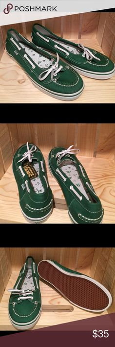 Abby Green Vans Leprechaun green boat-style slip on vans. Textile upper. Vans Shoes Sneakers