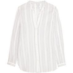 Vince - Striped Cotton-gauze Shirt ($147) ❤ liked on Polyvore featuring tops, t-shirts, white, striped t shirt, striped tee, woven shirts, t shirt and slouchy shirts