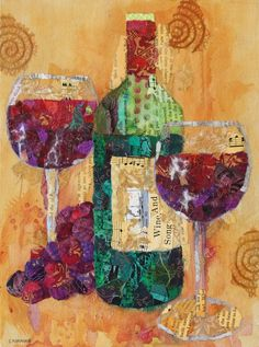 Wine And Song - Paper Collage. $125.00, via Etsy.