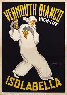 vermouth bianco Isolabella. Alcohol Vintage poster / vieille affiche publicitaire d'alcool. Drink ads.