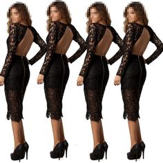 Womens Sexy Slim Fit Lace Cocktail Bodycon Bandage Dress Clubwear Evening Dress #Unbranded #StretchBodycon #Cocktail