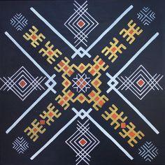Traditional Latvian folk symbols on black. Acrylic on canvas, 40x40cm. By Brigita Ektermane.