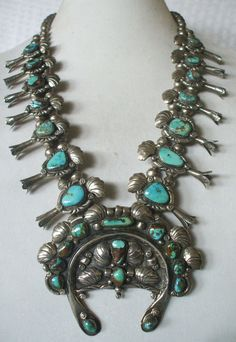 Signed by J. LONG, Vintage NAVAJO Sterling Silver & TURQUOISE Squash Blossom NECKLACE