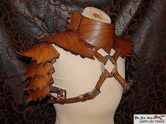 Leaf collection: shoulder armor with gorget by marcuslerenard
