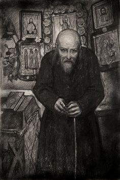 "Glazunov, Elder Zosima in a Cell 1982 year  Illustration for F. Dostoevsky's novel ""The Brothers Karamazov""  Paper, black oiled chalk, pastel. 90,5×60"