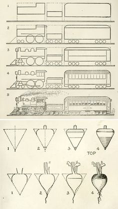 A brilliant old drawing book from 1935. Illustration on how to draw a train and a turnip .