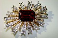 Vintage Designer Signed Kenneth Jay Lane Rhinestone Starburst Brooch #KennethJayLane