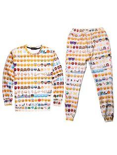 Emoji Clothes Jogger Cheap Sweater Set Online Sale Men Women Emoji 3D Print Shirt Top - WSDear.com