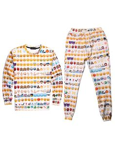 Emoji Clothes Jogger Cheap Sweater Set Online Sale Men Women Emoji 3D Print Shirt Top - WSDear.com