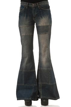 Patchwork  woman jeans with flare dirty look