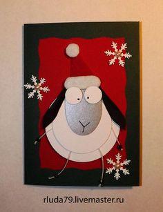 """Открытки к новому году ручной работы. Ярмарка Мастеров - ручная работа Новогодняя открытка """"Овца №2"""". Handmade."""