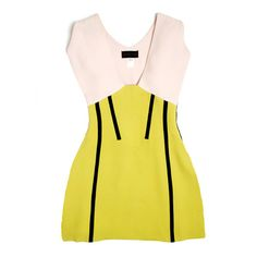 Black Seam Dress by Derek Lam: Loving the pastel-pink, apple-green, and black color combo.