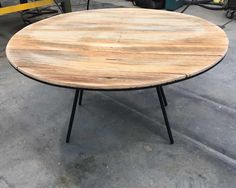 Recycled timber industrial round coffee table made by recycledtimberfurnitureoz.com