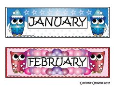 """24 Bright, Colorful, Crisp, Owl Calendar Month Headers!Not your average """"Owl with Month Name"""" headers!Each Owl Calendar Month Header was specifically designed for the month's holidays/events using extra, eye-catching clip art images!All files saved in JPEG and PNG formats for your convenience!All clip-art images were created by me, Corinne Orozco.Enjoy!"""
