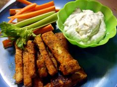 BUFFALO TOFU FRIES 1 package of tofu, frozen, thawed, drained & pressed  1/3 cup hot sauce  4 Tbs. light Vegan butter, melted  1 Tbs. agave nectar  ½ cup chickpea flour  Salt and pepper  2 tsp. garlic powder  1 Tbs. onion powder  2 tsp. dried parsley  2 Tbs. safflower oil