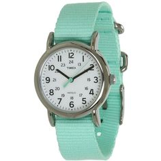 Timex Weekender Seafoam Green Slip Thru Nylon Strap Watch (2,080 PHP) ❤ liked on Polyvore featuring jewelry, watches, accessories, bracelets, casual watches, timex wrist watch, analog watches, buckle bracelet, green jewelry et bracelet watches