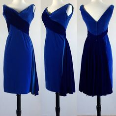 1950's Cobalt Blue Velvet Bombshell Cocktail Wiggle Dress with 3D Bust and Watteau Bustle Train | Size Medium by VeraciousVintageCo on Etsy