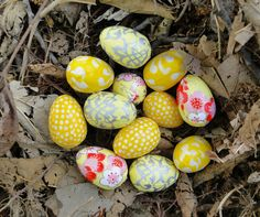 Yellow Easter Eggs, Tiny Wren Eggs, Decoupage Eggs, 1 inch long, Washi, Easter Ornament, Yellow Eggs, Citrus, Cherry Blossoms, Polka dots on Etsy, $28.00