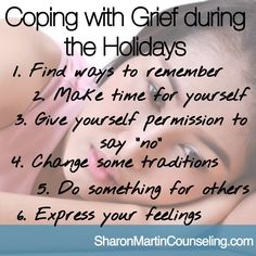 Sometimes changes in order to cope and ultimately make the holidays enjoyable again. This article provides strategies for coping with grief during the holidays. #grief #holidays