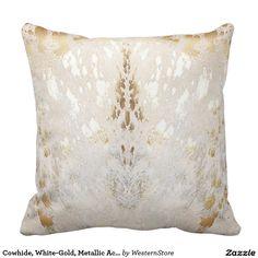 Cowhide, White-Gold, Metallic Acid Wash Print