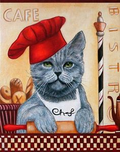 Chef Roberto Cats in Clothes Giclee Print from Original Painting by k Madison Moore