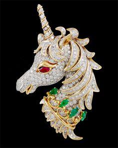 DAVID WEBB Diamod,Emerald & Ruby Unicorn Pin, 1980s