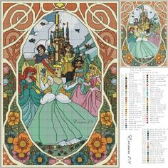 Borduurpatroon: Disney Allerlei *Cartoon Cross Stitch Pattern ~Disney Prinses: Alle Prinsesjes *All Princesses~