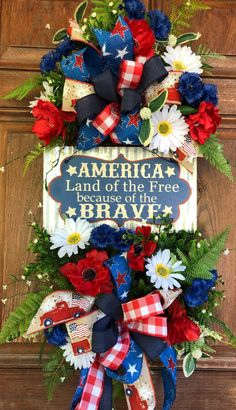 Fourth Of July Decor, 4th Of July Celebration, July 4th, 4th Of July Wreath, Memorial Day Decorations, Memorial Day Wreaths, Festival Decorations, Patriotic Wreath, Patriotic Crafts