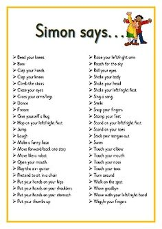 Simon says. Printable ideas for playing Simon Says. Great for Brain Breaks Preschool Songs, Preschool Learning, Kids Songs, Learning Activities, Baby Activities, Physical Activities For Kids, Circle Time Activities, Gross Motor Activities, Circle Time Ideas For Preschool