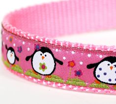 Happy Penguins Dog Collar on Pink by daydogdesigns on Etsy, $16.00-@Jenn L voight .?? Tehe