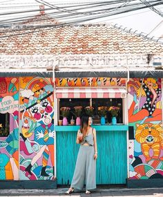 Sunday mornings at the circus 🌈🎪✨ rg Restaurant Exterior Design, Small Restaurant Design, Bali Restaurant, Bali Baby, Cafe Concept, Beach Cafe, Tropical Colors, Bali Travel, Vietnam Travel