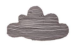 Noé and Zoë Large Cloud Pillow with Black Stars and Stripes | Scandi Mini