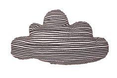 Noé and Zoë Large Cloud Pillow with Black Stars and Stripes | Scandi Mini