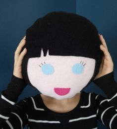 Face Pillow Novelty Pillow  Upcycled by OgsploshAccessories