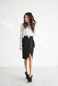 DETAILS: WHITE CROCHETED TOP(UNDER A $100)   BLACK WRAP SKIRT(UNDER $50)  BLACK MULES   BLACK SUEDE PUMPS Happy Friday fam! My best friend comes to town tomorrow for girls weekend! I am so exci…