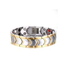 Sale 12% (20.49$) - Stainless Steel Bilateral Magnetic Therapy Bracelet Men Jewelry Gift