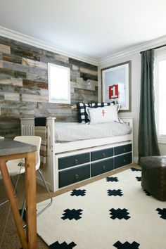 Rustic Bedroom (could change out bed to make it more teen appropriate) - Stikwood Reclaimed wood wall, DIY steel top desk, Bellacor Menlo Park sconce light