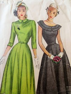 Vintage Simplicity 2325 Sewing Pattern, 1940s Dress Pattern, Day Dress, Bust 33, Bertha Collar, Flared, 1940s Sewing Pattern, Vintage Sewing